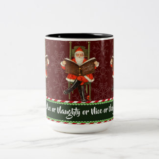 Naughty or Nice Santa Two-Tone Coffee Mug