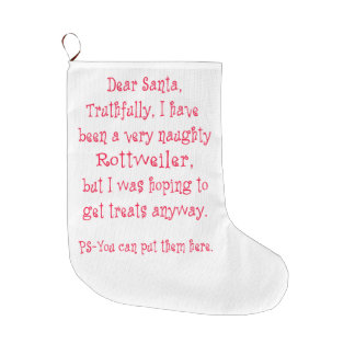 Naughty Rottweiler Large Christmas Stocking