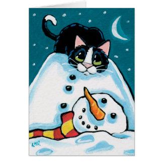 Naughty Tuxedo Cat and Headless Snowman Card