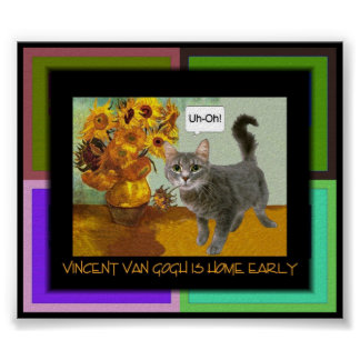 Naughty Van Gogh Cat 3 Poster