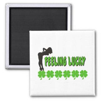 Naughty Women's Feeling Lucky Irish Square Magnet