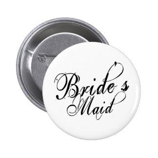 Naughy Grunge Script - Bride's Maid Black 2 Inch Round Button