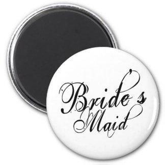 Naughy Grunge Script - Bride's Maid Black 2 Inch Round Magnet