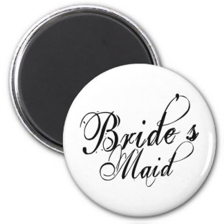 Naughy Grunge Script - Bride's Maid Black Magnets