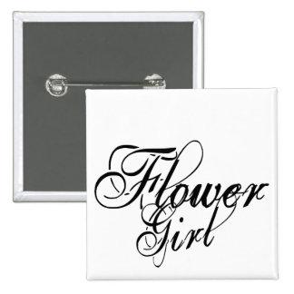 Naughy Grunge Script - Flower Girl Black 2 Inch Square Button