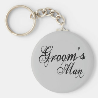 Naughy Grunge Script - Groom's Man Black Keychain