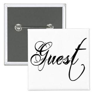 Naughy Grunge Script - Guest Black 2 Inch Square Button