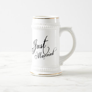Naughy Grunge Script - Just Married Black Beer Stein
