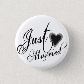 Naughy Grunge Script - Just Married Heart Black 1 Inch Round Button