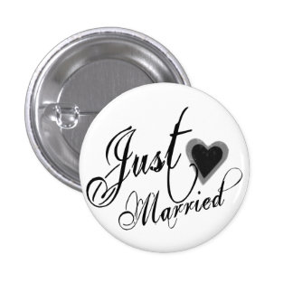 Naughy Grunge Script - Just Married Heart Black 1 Inch Round Button