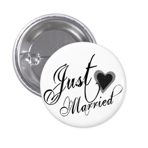 Naughy Grunge Script - Just Married Heart Black Pin