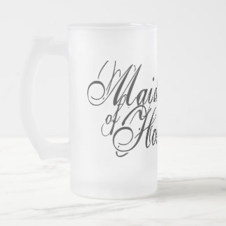 Naughy Grunge Script - Maid Of Honor Black 16 Oz Frosted Glass Beer Mug