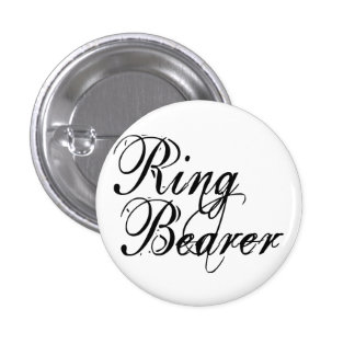 Naughy Grunge Script - Ring Bearer Black 1 Inch Round Button