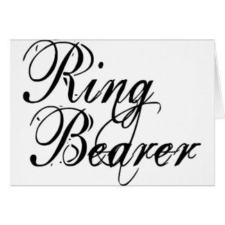Naughy Grunge Script - Ring Bearer Black Greeting Card