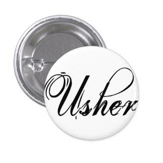 Naughy Grunge Script - Usher Black 1 Inch Round Button