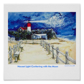 Nauset Light Conferring with the Moon Poster