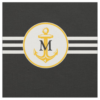 Nautiacal Monogram Gift | Orange Anchor Fabric