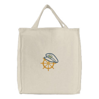 Nautical 4 Motif Embroidered Tote Bags