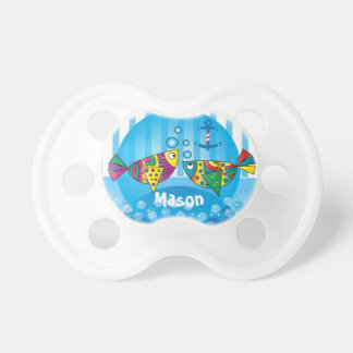 Nautical Abstract Colorful Fish Design Pacifier