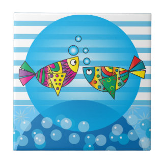 Nautical Abstract Colorful Fish Design Tiles