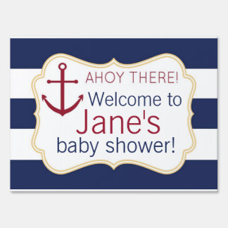 Nautical Ahoy There Baby Shower Yard Sign