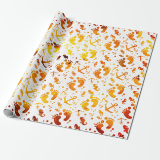 Nautical amber baby pattern wrapping paper