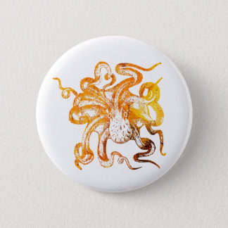 Nautical amber octopus 2 inch round button