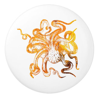 Nautical amber octopus ceramic knob