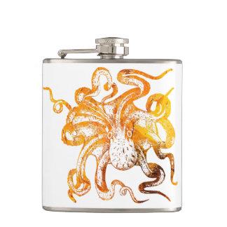 Nautical amber octopus hip flask
