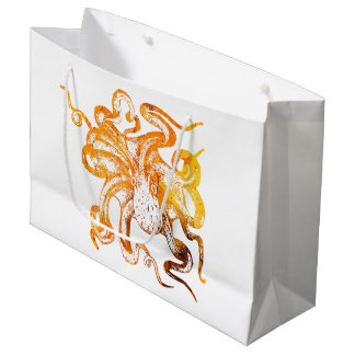 Nautical amber octopus large gift bag
