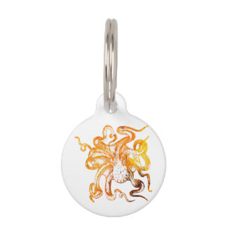 Nautical amber octopus pet ID tag