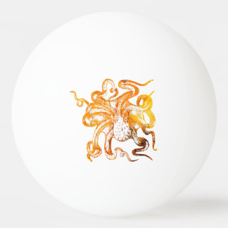 Nautical amber octopus ping pong ball