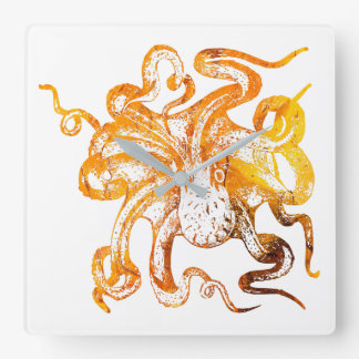 Nautical amber octopus square wall clock