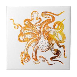 Nautical amber octopus tile