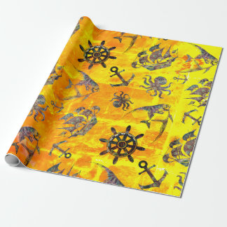 Nautical amber pattern wrapping paper