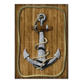 """Nautical Anchor 5"""" X 7"""" Invitation Card"""