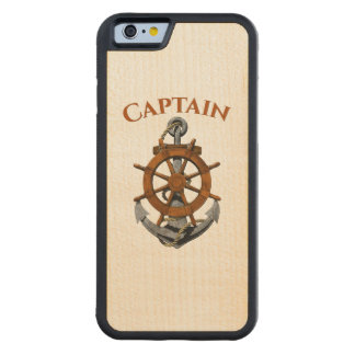 Nautical Anchor And Captain Carved Maple iPhone 6 Bumper Case
