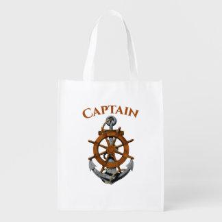 Nautical Anchor And Captain Reusable Grocery Bag