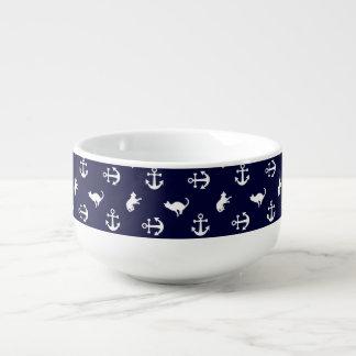 Nautical anchor and cats soup mug