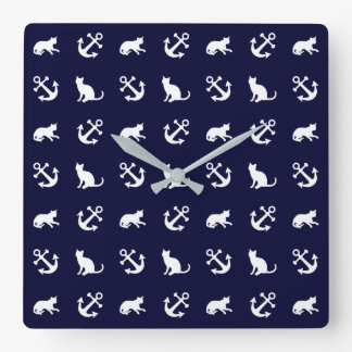 Nautical anchor and cats square wall clock