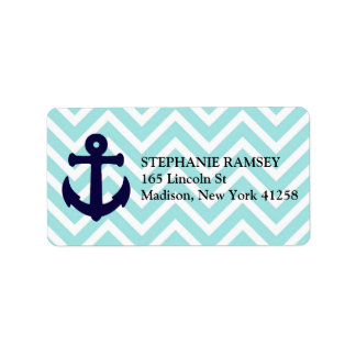 Nautical Anchor and Chevron Shipping Labels