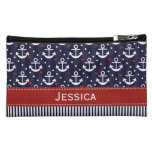 Nautical Anchor and Hearts Cosmetic Bag