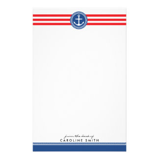 Nautical anchor and red stripes personalized stationery