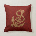 Nautical Anchor and Rope in Rustic Red Throw Pillow
