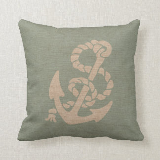 Nautical Anchor and Rope in Seafoam Green Throw Pillow