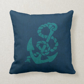 Nautical Anchor and Rope Ocean Blue Green Throw Pillow
