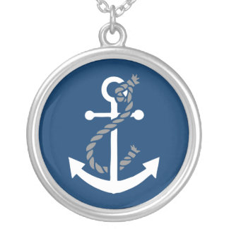 Nautical Anchor and Rope Silver Plated Necklace