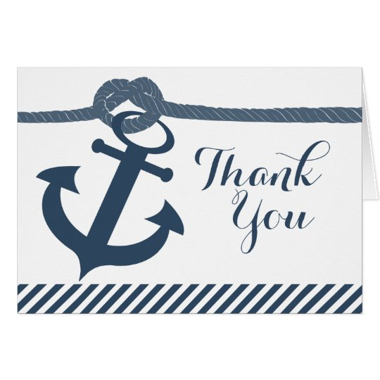 Nautical Anchor and Rope Thank You Card