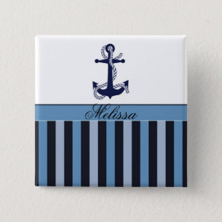 Nautical Anchor and Stripes Blue 2 Inch Square Button