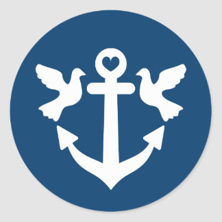 Nautical anchor and white doves wedding stickers